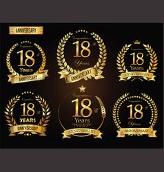 anniversary golden laurel wreath 18 years vector image vector image