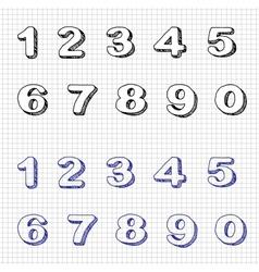 Hand-drawn numbers doodles set 2 sketch vector