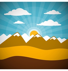 Nature Retro Mountains with Clouds Sun Blue Sky vector image