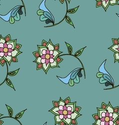Seamless patterngreen colorshand drawn flowers vector image vector image