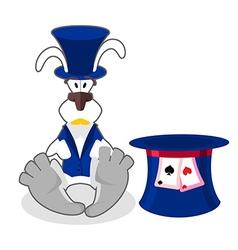 White rabbit in blue hat bunny in waistcoat vector image vector image