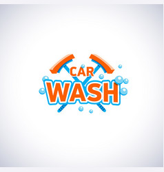 Car wash cartoon style emblem with bubbles and mop vector