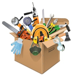 Carton Box with Tools vector image vector image