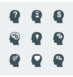 human head icons set vector image