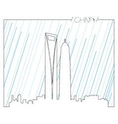 Isolated skyline of Shanghai vector image