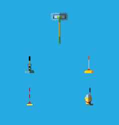 flat icon mop set of besom mop broom and other vector image vector image