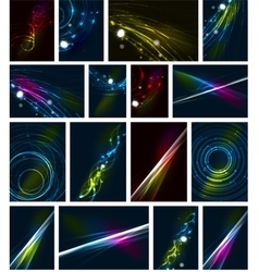 Glowing lines in dark space abstract background vector image