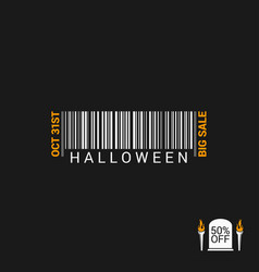 halloween sale bar code design background vector image vector image