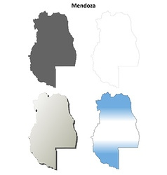Mendoza blank outline map set vector