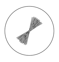 Spaghetti pasta icon in outline style isolated on vector