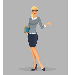 Teacher woman with books vector image vector image