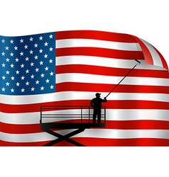 Putting up American Flag vector image vector image