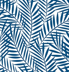 Tropical blue palm tree leaves in a seamless vector image vector image