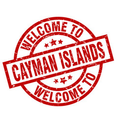 welcome to cayman islands red stamp vector image
