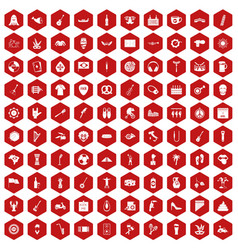 100 street festival icons hexagon red vector