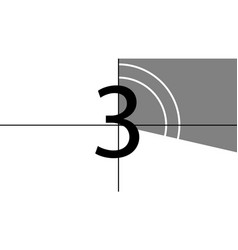 A classic movie countdown frame at number vector