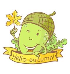 Acorn doodle character vector