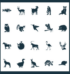 Animal icons set with kangaroo antelope impala vector