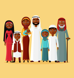 Arab family muslim arab people vector
