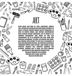 Artist tools sketch hand drawn frame vector image