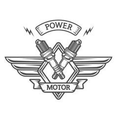Auto emblem to spark plugs vector