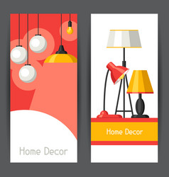 Banners with chandelier furniture floor and table vector