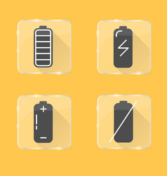 Battery silhouette icon set in flat style on vector