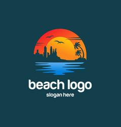 Beach summer logo design vector