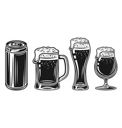 Beer glass mug and can black objects set vector