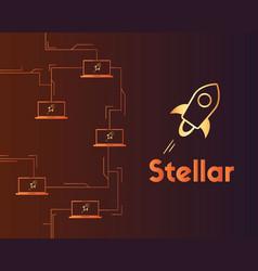 Blockchain stellar style circuit background vector