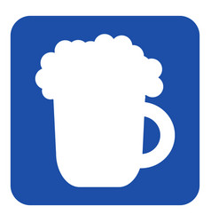 Blue white information sign - beer with foam icon vector