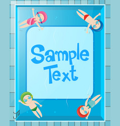 Border design with kids in the pool vector