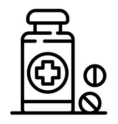 bottle with a medical cross icon outline style vector image