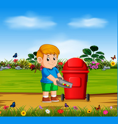 Boy throw the danger things to the red bin vector