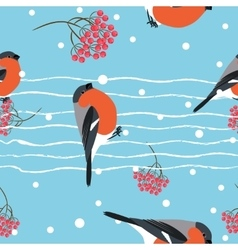 Bullfinch and berberry branch seamless pattern vector image