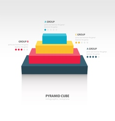 Business Infographics pyramid cube 4 color vector image