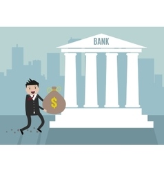 Businessman carry bank into bank vector