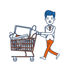 businessman character push shopping cart full vector image