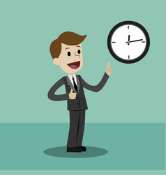 Businessman or manager takes control on his time vector