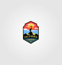 california beach logo pelican bird design vector image