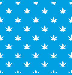 Cannabis leaf pattern seamless blue vector