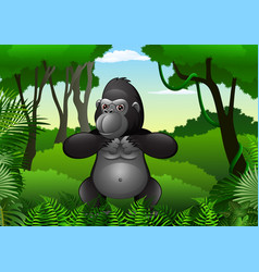 cartoon gorilla in the jungle vector image