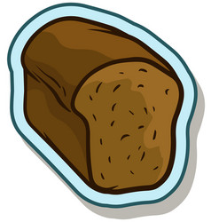 cartoon rye tasty bread sticker icon vector image