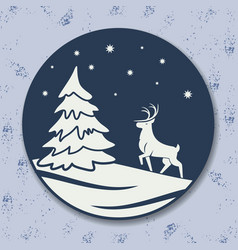christmas icon reindeer and tree vector image