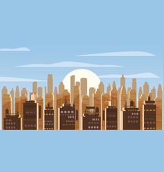 cityscape day modern city skyline panoramic vector image