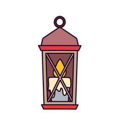 classic lamp with candle on white background vector image