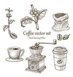 Coffee set hand drawing vintage style vector