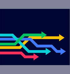 Colorful geometric arrows moving forward vector