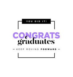 congratulations graduates logo graduation vector image