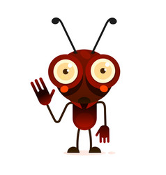 cute ant stands on two paws and waves his hand vector image